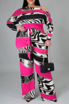 Red Casual Print Split Joint One Shoulder Plus Size Jumpsuits