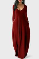 Burgundy Fashion Casual Solid Pocket V Neck Long Sleeve Dresses