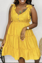 Yellow Sweet Solid Bandage Make Old V Neck Cake Skirt Dresses