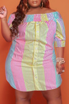 Pink Yellow Casual Cute Striped Print Off the Shoulder Straight Plus Size Dresses