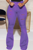 Purple Street Solid Buttons Boot Cut High Waist Speaker Bottoms
