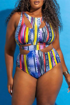 Multicolor Fashion Sexy Print Hollowed Out Split Joint O Neck Plus Size Swimwear
