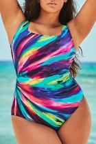 Colour Casual Print Split Joint U Neck Plus Size Swimwear