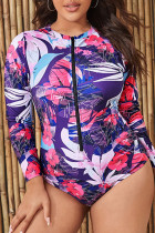 Purple Casual Print Split Joint Zipper Zipper Collar Plus Size Swimwear