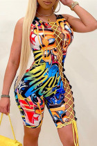 Colour Fashion Sexy Print Bandage Hollowed Out O Neck Skinny Romper