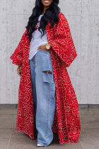 Red Casual Print Split Joint Outerwear