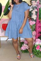 Light Blue Casual Solid Split Joint O Neck Cake Skirt Dresses