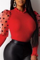 Red Sexy Dot Split Joint O Neck Tops