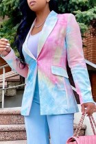 Colour Fashion Casual Print Tie Dye Split Joint Turndown Collar Outerwear