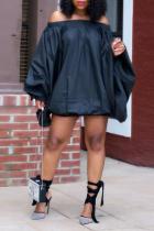 Black Casual Solid Split Joint Off the Shoulder Lantern Dress Dresses