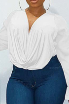 White Casual Solid Mesh O Neck Plus Size Tops