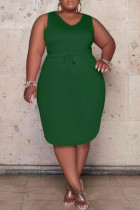 Green Casual Solid Bandage Draw String Spaghetti Strap Straight Plus Size Dresses