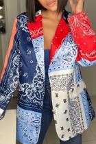 Blue Casual Print Split Joint Turndown Collar Outerwear