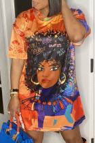 Tangerine Street Print Split Joint O Neck T-shirt Dress Plus Size Dresses