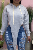 Grey Casual Solid Hooded Collar Tops