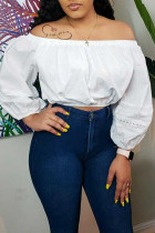 White Sexy Casual Solid Backless Off the Shoulder Tops