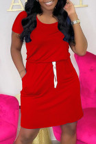 Red Fashion Casual Solid Basic O Neck Short Sleeve Dress