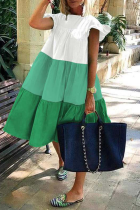 Green Casual Color Block Flounce O Neck Cake Skirt Dresses