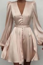 Apricot Sexy Print Split Joint V Neck Cake Skirt Dresses