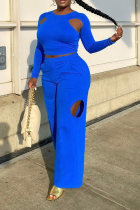 Blue Casual Solid Ripped O Neck Long Sleeve Two Pieces