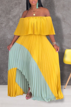 Yellow Sexy Patchwork Split Joint Off the Shoulder Cake Skirt Dresses