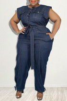 Dark Blue Fashion Casual Solid With Belt O Neck Plus Size Jumpsuits