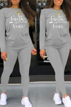 Grey Casual Letter Print Split Joint O Neck Long Sleeve Two Pieces