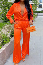 Orange Fashion Casual Solid Basic Turndown Collar Long Sleeve Two Pieces