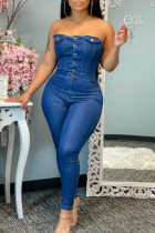 Dark Blue Fashion Casual Solid Backless Strapless Skinny Jumpsuits
