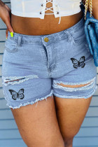 Baby Blue Fashion Casual Butterfly Print Ripped High Waist Jeans