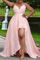 Pink Elegant Solid Split Joint Asymmetrical Spaghetti Strap Evening Dress Dresses
