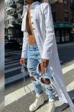 White Street Solid Split Joint Buckle Asymmetrical Turndown Collar Outerwear