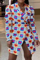 Multicolor Fashion Casual Print Basic Turndown Collar Outerwear