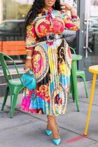 Colour Casual Print Split Joint Turndown Collar Shirt Dress Dresses