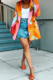 Orange Fashion Casual Print Cardigan Two Lapel Outerwear