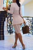 Cream White Fashion Casual Solid Cardigan Turndown Collar Outerwear