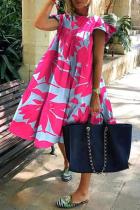 Rose Red Casual Print Split Joint O Neck Cake Skirt Dresses