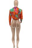 Tangerine Red Street Print Split Joint Turndown Collar Outerwear