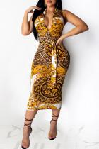 Yellow Sexy Casual Print Basic Zipper Collar Sleeveless Dress