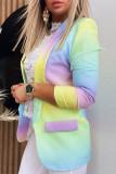 Purple Yellow Fashion Casual Gradual Change Print Cardigan Turn-back Collar Outerwear
