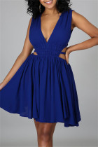 Blue Sexy Casual Solid Hollowed Out Backless V Neck Sleeveless Dress