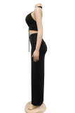 Black Sexy Solid Hollowed Out Halter Sleeveless Two Pieces