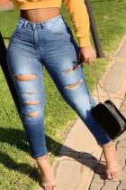 Medium Blue Casual Solid Ripped Mid Waist Skinny Denim Jeans