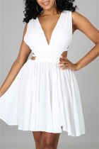 White Sexy Casual Solid Hollowed Out Backless V Neck Sleeveless Dress