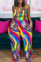 Colour Sexy Casual Print Backless Spaghetti Strap Plus Size Jumpsuits