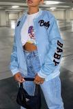Light Blue Casual Print Split Joint Zipper Collar Outerwear