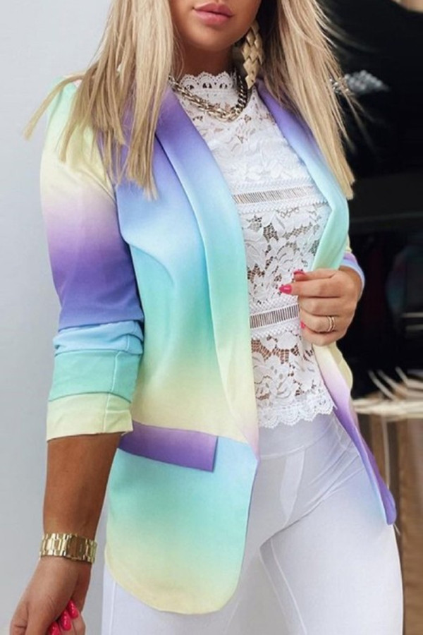 Purplish Blue Fashion Casual Gradual Change Print Cardigan Turn-back Collar Outerwear