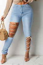 Light Blue Fashion Casual Solid Bandage Hollowed Out High Waist Skinny Jeans