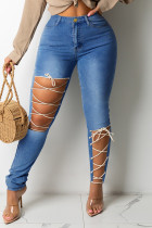 Medium Blue Fashion Casual Solid Bandage Hollowed Out High Waist Skinny Jeans