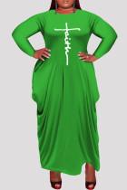 Green Fashion Casual Plus Size Print Asymmetrical O Neck Long Sleeve Dresses